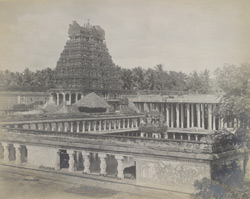 Perspective view from the south-west, including 1000 pillared mandapa, etc., Jambukesvaraswami Temple [Jambukeshvara Temple], Tiruvanaikoil [Srirangam], Trichinopoly District